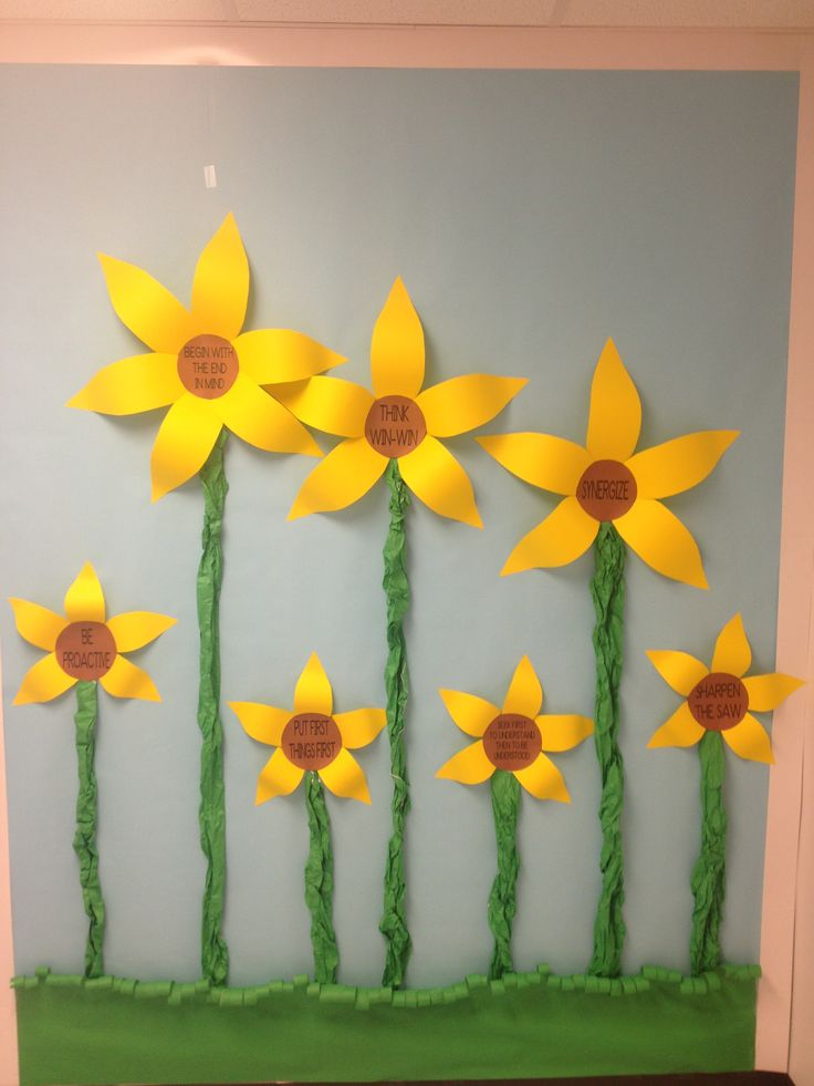 My Leader in Me 7 Habits bulletin board in a sunflower theme.  I still need to add a title...and maybe a cloud or two but I like it!  : )