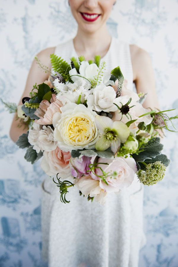 eclectic wedding bouquet // photo by Khaki Bedford // flowers by Sprout Home Brooklyn