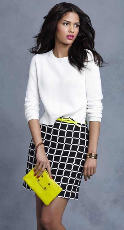 Ann Taylor: Fashion, Black And White, Neon Green, Black White, Offices Outfit, Accent Colors, Work Outfit, Anne Taylors, Spring Style