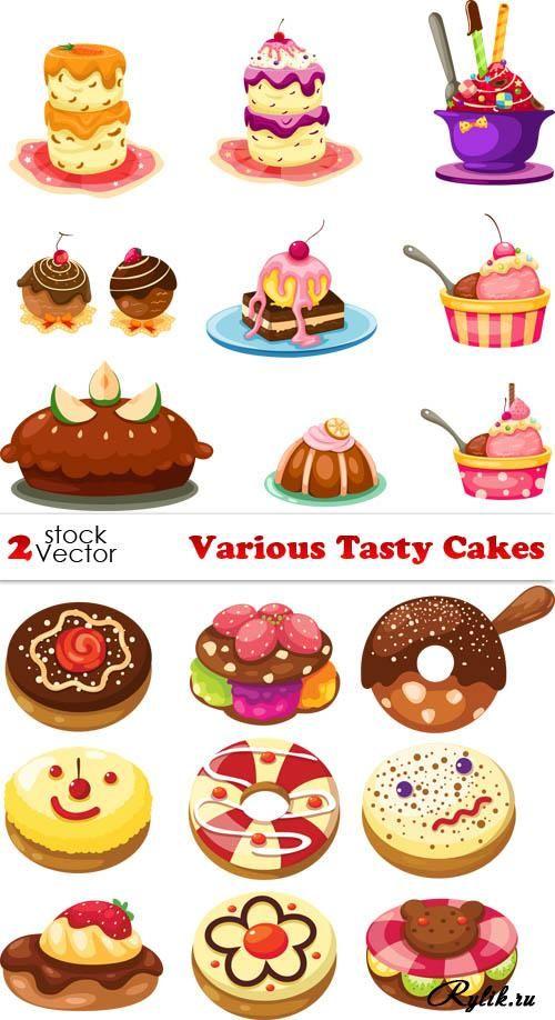 Разные пирожные, пироги, торты - векторные рисунки. Tasty Cakes