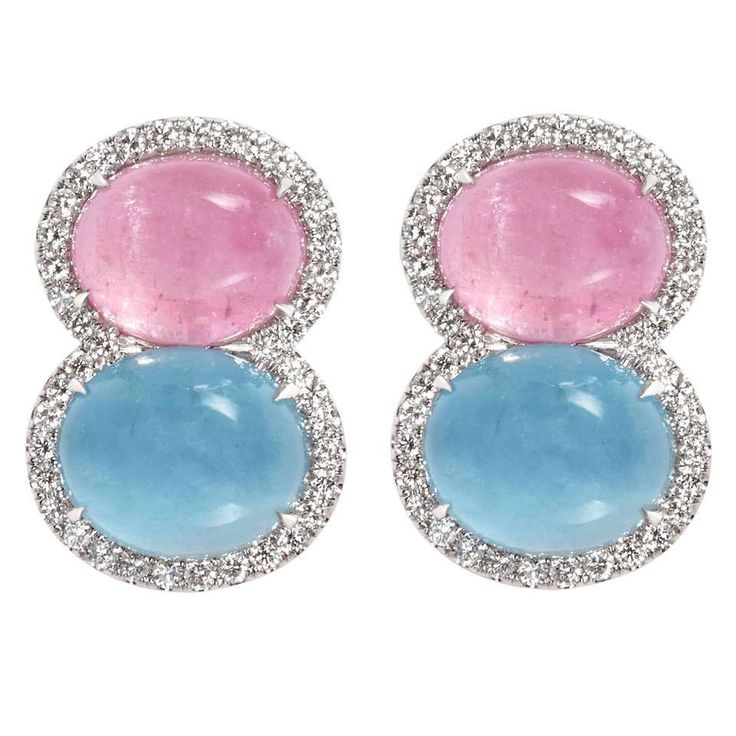 Snowman Pink Tourmaline Aquamarine Diamond Gold Earrings 1