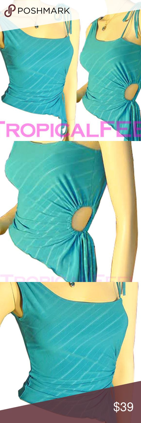 """New Turquoise Blue Sleeveless One Shoulder Top S New Turquoise Blue Sleeveless Spaghetti Strap One Shoulder Top Blouse. Light opaque white striped pattern. Silver buckle, spaghetti strap tie, asymmetrical hem, open circle cut out drawstring tie to adjust waistline fit. MADE in USA. Fabric 92% Polyester 8% Spandex.  Size Jr MEDIUM. BUST (pit to pit) 17"""" across unstretched, 19"""" across stretched, LENGTH (PIT to bottom hem) 12"""" one side, 25"""" cut-out side  Womens tops as summer tops, casual wear…"""