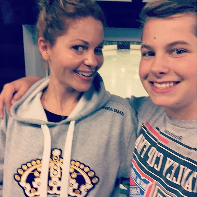 "Pin for Later: Candace Cameron Bure's Sweet Family Snaps Couldn't Be Cuter  Candace: ""#hockeymom."""