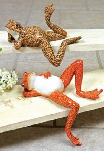 """2 Pack - DELUXE LAZY FROG SHELF SITTERS! HOME DECOR FROGS! . $21.94. New!  Resin Frog shelf sitter, 2 styles, orange and brown 4.0""""H x 6.7""""w x 9.25""""D"""