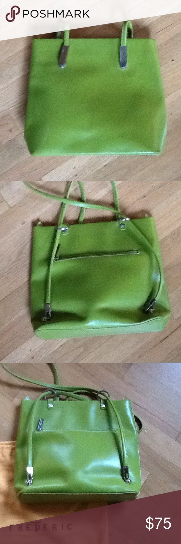 "Frederic Paris Handbag Frederic Paris Leather Handbag. Looks new. May have been used a few times. Approx 12"" wide 10"" tall and 3.5"" across the bottom. 7.5"" outside and inside zippered pouches. Lime green. frederic paris Bags"