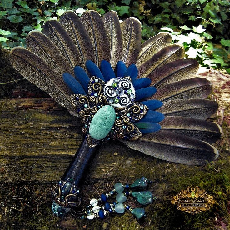 Image of DANU THE DIVINE - Turkey Blue Macaw Feather Smudge Fan Bison Fossil Pagan Altar Art