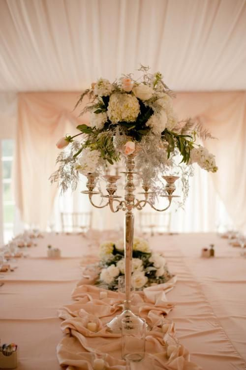 Rent a candelabra for stunning wedding centerpiece