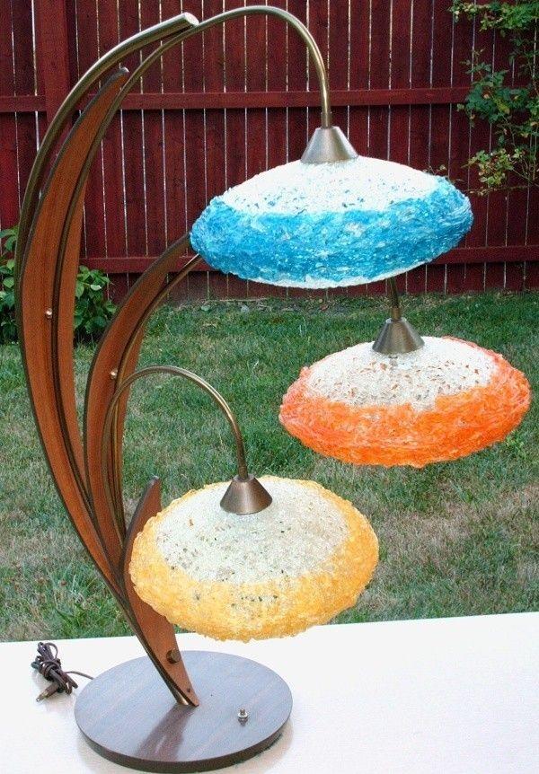 danish mid century modern floor lamp teak lucite spaghette ufo globes rare