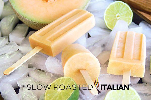 Cantaloupe and Cream Lime Ice Pops-Cantaloupe and Cream Lime Ice Pops ...