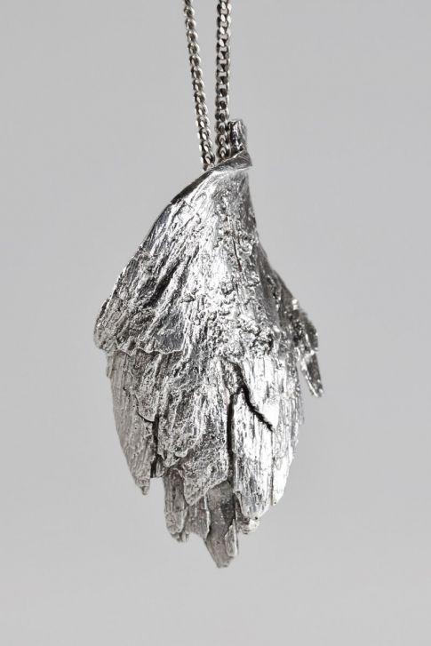 Nils Westerback, organic wing like sterling silver necklace, 1973. | NordlingsAntik.com #Finland