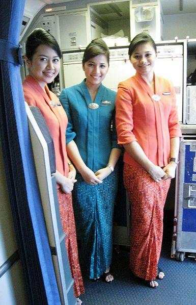 Garuda Indonesia flight attendants uniform featuring kebaya and parang gondosuli batik