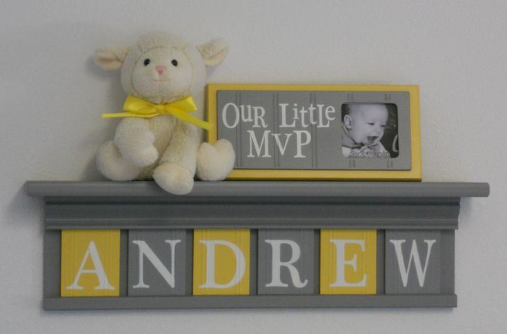 Baby boy room decoration name nursery decor shelf gray for Baby name decoration ideas