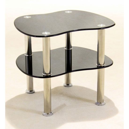 Best Hudson 2 Tier Black Glass Side Table Black Side Table 400 x 300