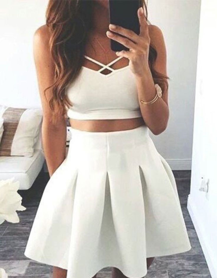 Cheap Homecoming Dresses Cute A-line Two-Piece White Satin #Short Homecoming Dress#HomecomingDresses#Short PromDresses#Short CocktailDresses#HomecomingDresses