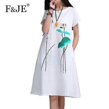 Новая Мода 2016 Летом Искусство стиль Женщин Короткий рукав Длинный Dress Чернила Высокого Качества Печати хлопок белье Старинные Dress E610(China (Mainland))