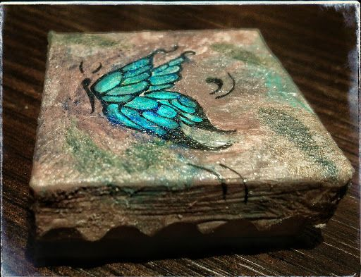 hand painted blue butterfly paper 1:12 scale miniature paper box vintage