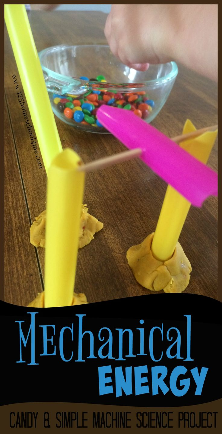 Mechanical Energy - Candy and Simple Machines Science Project! This is such a fun way for kids to use STEM to learn with a hands on science project using m&m candies and a straw simple machine for homeschool, kindergarten, first grade, 2nd grade, 3rd grade, 4th grade, 5th grade, 6th grade.