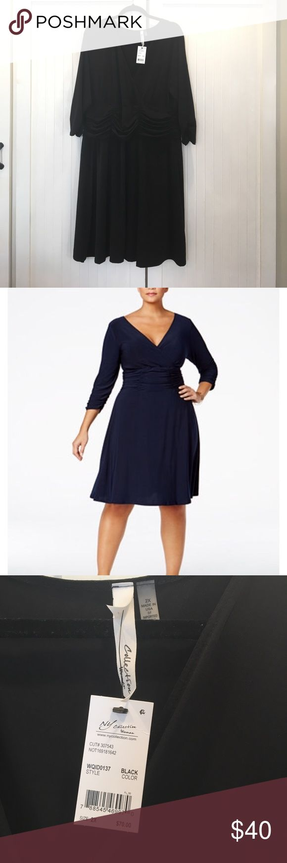 NY Collection V Neck Black Dress 2x Beautiful NY collection black dress. V Neck, ruched waist & sleeves. Very flattering. New w/ tags NY Collection Dresses