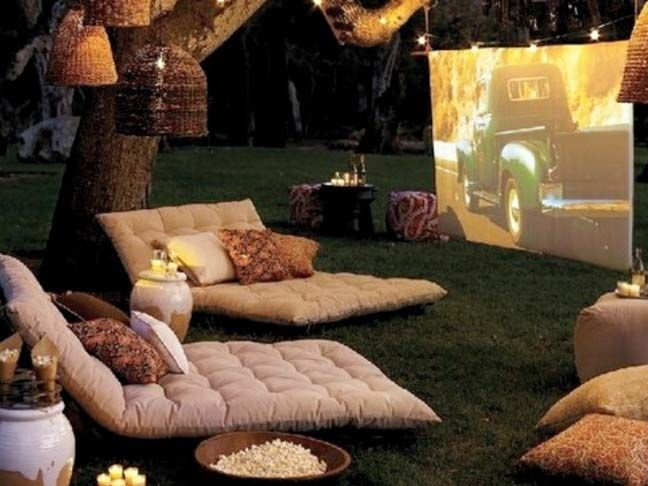 Summer DIY: Build A Backyard TheaterIdeas, Movie Theater, Movienight, Summer Movie, Outdoor Theater, Backyards Movie, Movie Nights, Summer Night, Outdoor Movie Night