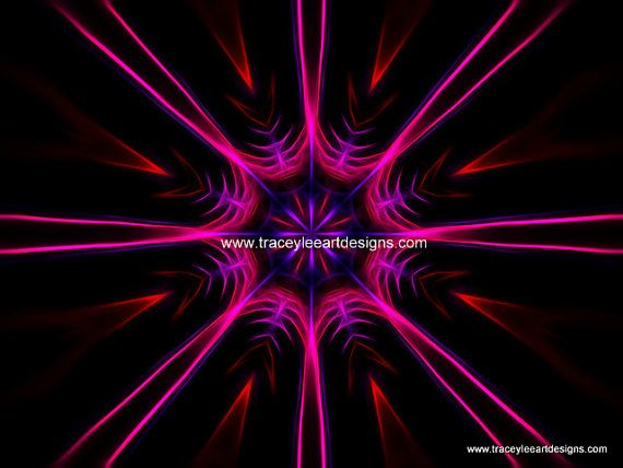 Art print of fractal star image in pink by Traceyleeartdesigns