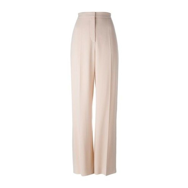 STELLA MC CARTNEY Wide Leg Trousers ($270) ❤ liked on Polyvore featuring pants, pantaloni, trousers, calça, pink, pink spandex pants, pink pants, light pink pants, wide-leg trousers and pink high waisted pants