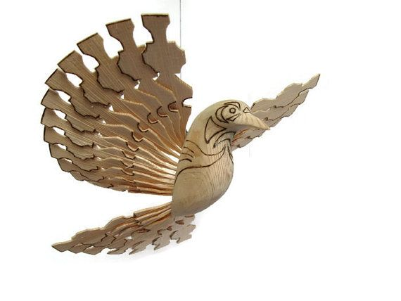 Folk Art Wood Carved Wooden Bird Nursery Mobile by MyFanbirds