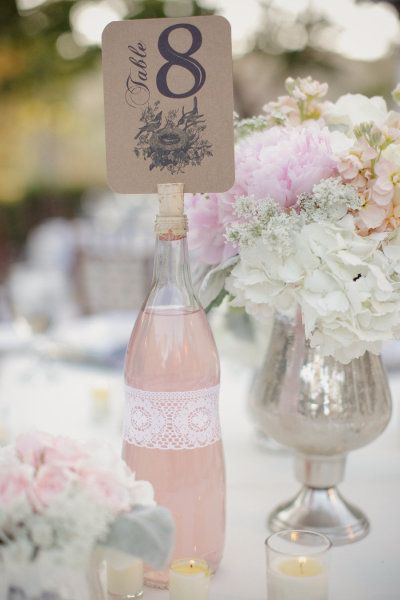 placecard: Lace, Wedding Ideas, Tables Cards, Corks, Tables Numbers, Wine Bottle, Pink Lemonade, Centerpieces, Flower