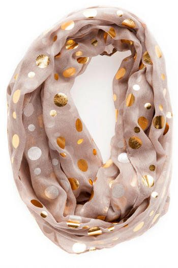 Dallas polka dot - Blush with round copper metallic accent scarf