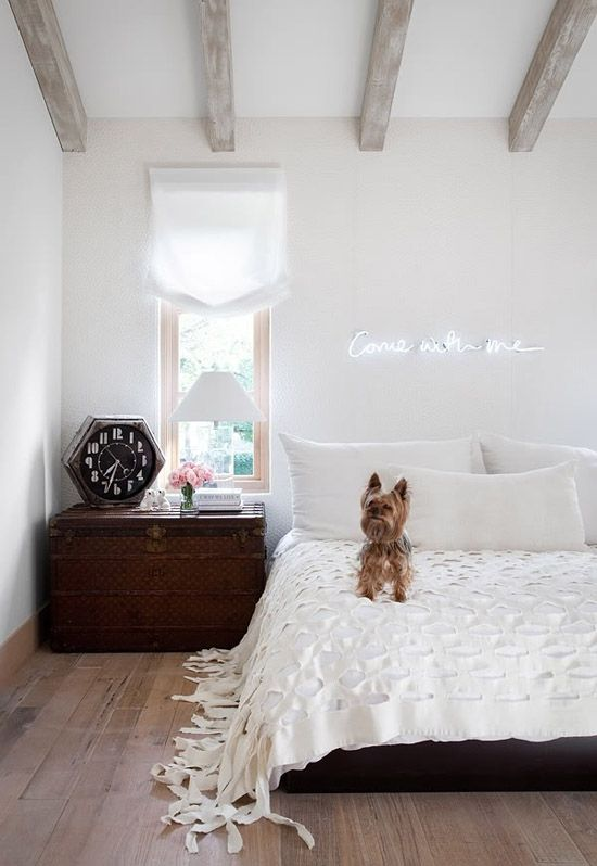dream room #rmpastelprettiesVintage Clocks, Lights, Dogs, Beds, Exposed Beams, Expo Beams, Neon Signs, Interiors, White Bedrooms