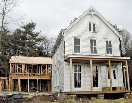 Before and after: An 1860s farmhouse gets a modern update. Exterior Before Photo of Restored NJ Farmhouse