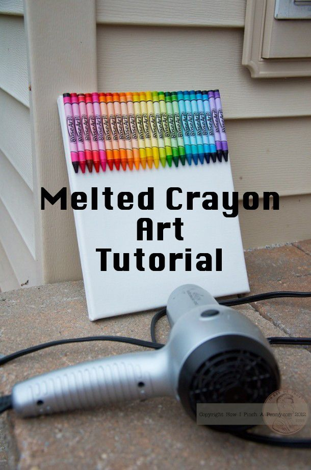 Melted Crayon Art Tutorial. Beautiful art you can create with a box of crayons, a canvas and a hair dryer. A fun project for the whole family!