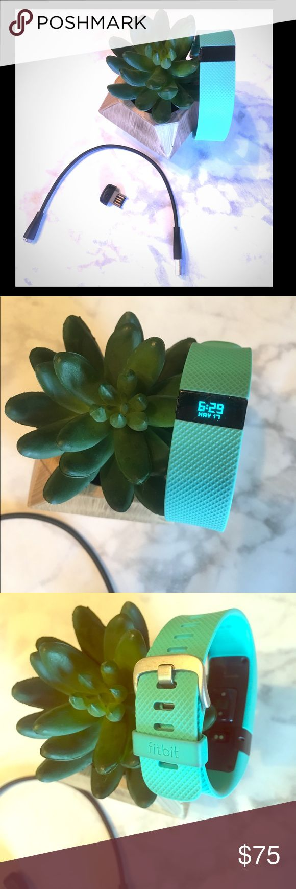 EUC!! Fitbit Charge HR - Small - TEAL color EUC!! Fitbit Charge HR - Size Small - TEAL color! Charger cable & USB connector included. High-performance wristband with automatic, continuous heart rate & activity tracking. See heart rate all day & during workouts to get more accurate calorie burn, reach your target workout intensity & maximize training time. Track steps, distance, floors climbed, sleep quality & more. Stay connected with caller ID, date & time, on display. Charge HR wirelessly…