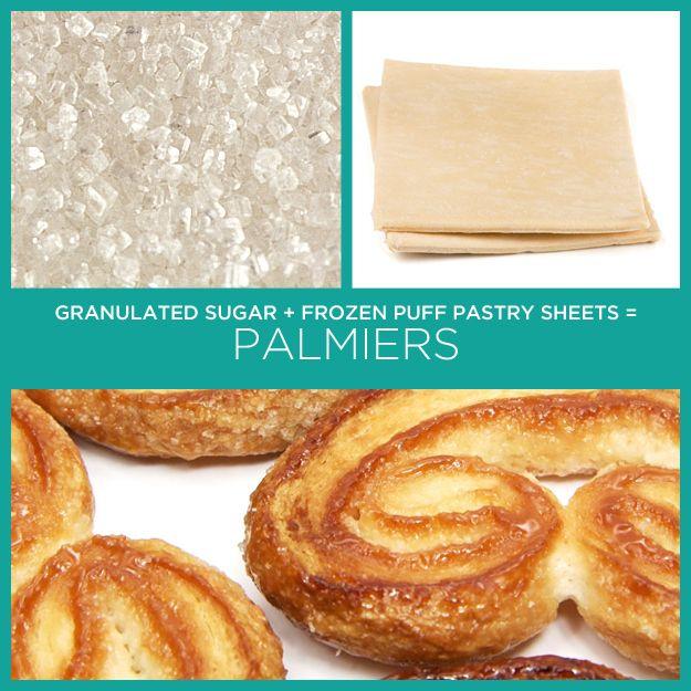 Açúcar granulado   lâminas de massa folhada congelada = Palmiers | 34 receitas insanamente simples com apenas dois ingredientes