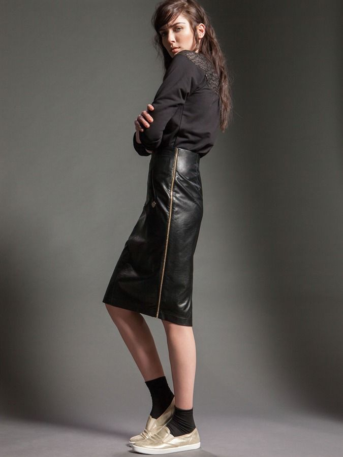Naughty Dog FW15 blouse with lace inserts and leather longuette