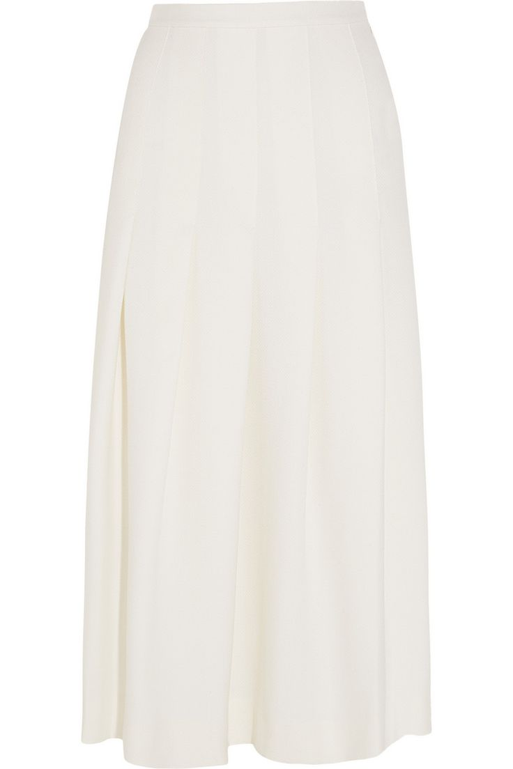 Mother of Pearl | Dune pleated wool-piqué midi skirt | NET-A-PORTER.COM