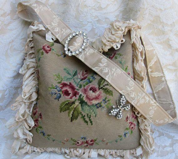 Vintage Brocade Needlepoint Handbag Roses by LadidaHandbags, $98.00