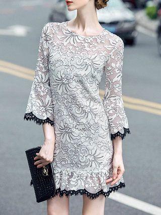 White Embroidery Floral Organza Elegant Mini Dress