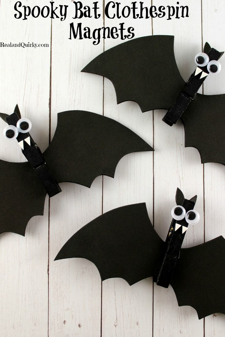 Spooky Bat Clothespin Magnets are a cute and fun way to craft with your kids as they get ready for Halloween. Try this simple activity today! As seen on RealandQuirky.com via @RealandQuirky