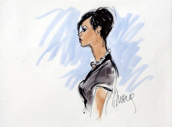 Rihanna Photos - In this courtroom sketch, singer Rihanna speaks at a preliminary hearing at Superior Court of Los Angeles County on June 23, 2009 in Los Angeles, California. The preliminary hearing is to determine if Chris Brown will stand trial for allegedly attacking pop singer Rihanna, during an argument in a rented Lamborghini sports car following a pre-Grammy Awards party on February 8, 2009. He is currently free on $50,000 bail. - Chris Brown Court Appearance