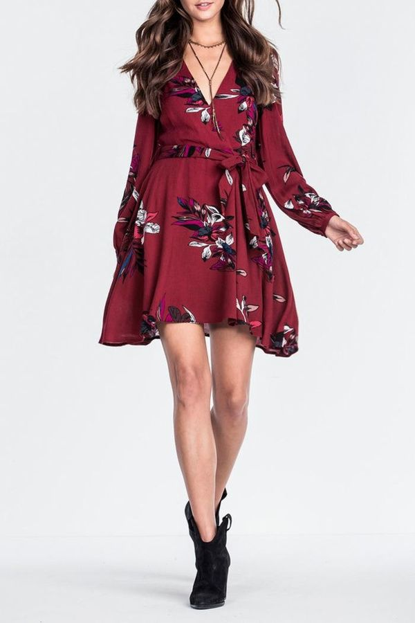 Miss Me Wine Floral Dress