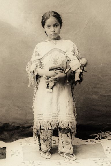 ~Antique Photograph~  Native American Indian girl Katie Roubideaux, Rosebud Sioux, (1890-1991)