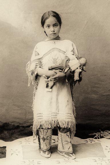 Native American Indian girl ~ Katie Roubideaux, Rosebud Sioux, (1890-1991)