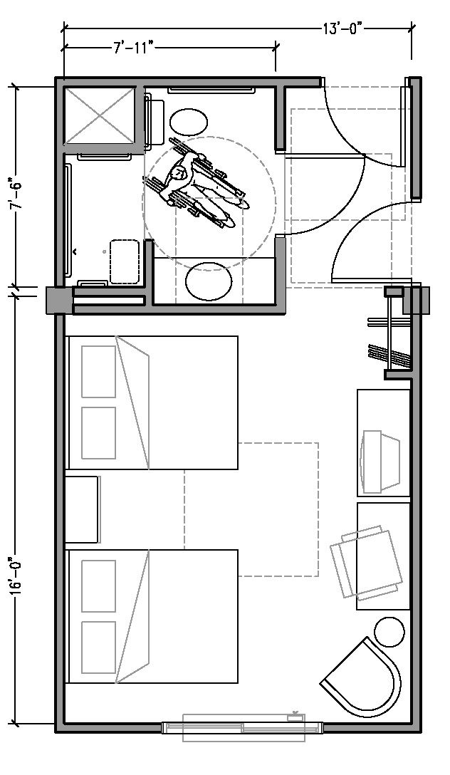 Plan 2b Accessible 13 Ft Wide Hotel Room Based On 2004