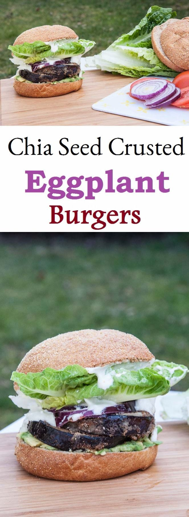 Chia crusted eggplant burgers...hmmm Love chia seeds and love eggplant . This is an interesting combination