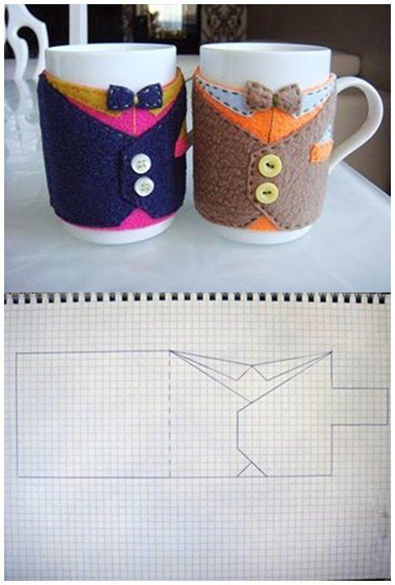 DIY Cup Cozy Ideas  ---  Bow Tie Pattern