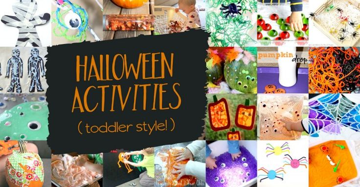 Not-so-scary, but still icky and ooey, Halloween activities for toddlers. Lots of fun monsters, spiders and spider webs, pumpkins, and some slimy fun!