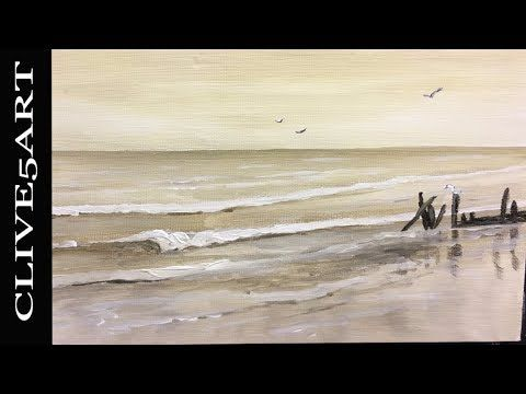 Sepia Seascape Acrylic painting for beginners This is a full step by step learn to Beginners Acrylic Painting is easy to follow in acrylics let #CLIVE5ART show you step by step how an easy fun decorative art project      Easy to follow every part of the painting process to get you a great finished painting. in a fun teaching lesson using several reference sources to bring you a true teaching experience  Im painting on a 10 x 8 -inch stretched canvas board  but you can paint on any type and…
