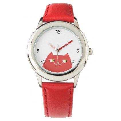 Cat Red Hot Vibrant Cartoon Funny Chic Trendy Watch - red gifts color style cyo diy personalize unique