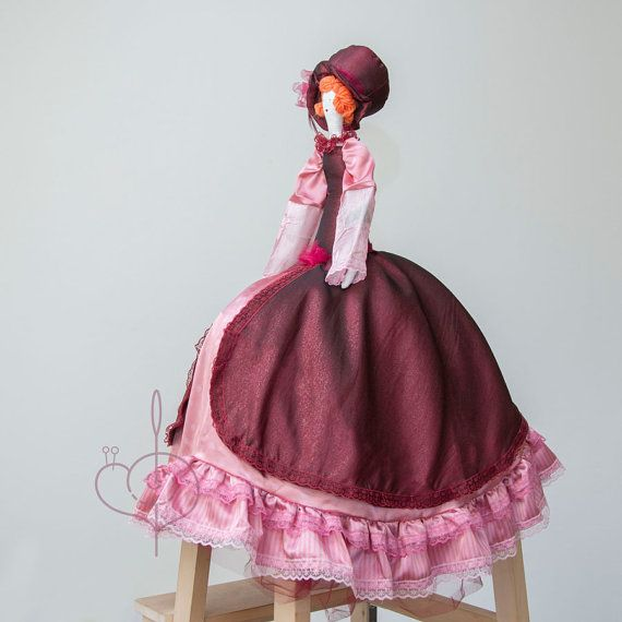 Steampunk fabric doll, Victorian burgundy pink doll by TheBesssCorner