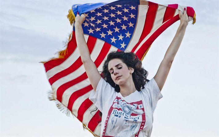 Hämta bilder Lana Del Rey, Porträtt, Amerikansk sångerska, Amerikanska flaggan, USA
